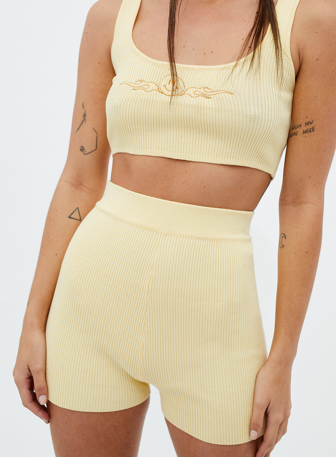 legging mini canalé amarillo